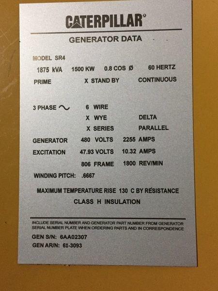 Detroit Diesel Series 60 >> Rebuilt Caterpillar SR4 Generator End 1500 6AA02307