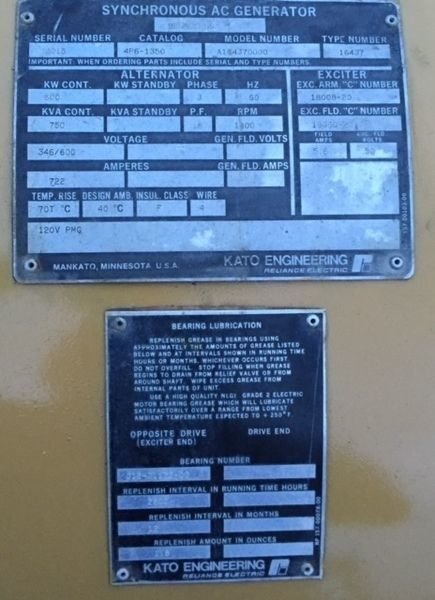 Used Kato Engineering 600kw Generator End